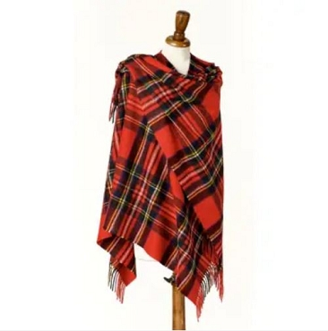 Royal Stewart Tartan Mini Ruana - 100% Merino Lambswool